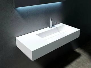 Juniper 36    72  Solid Surface Wall Mounted Sink   36  Right Basin   White