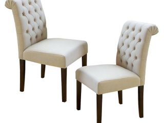 Dinah Roll Top Ivory Fabric Dining Chair  Set of 2  by Christopher Knight Home  Retail 233 99