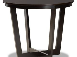 35  Alayna Wide Round Wood Dining Table Dark Brown   Baxton Studio