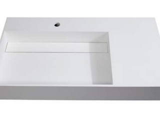 Juniper Solid Surface Wall Mounted Sink   36  left Basin   White  Retail  266 99