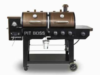 Pit Boss Pro Series Double Pellet Grill   AS   IS possibly needs new fuse to power on new condition one wheel is broke