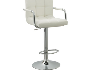 Modern Swivel Adjustable Faux leather Metal Barstool