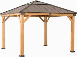 Sunjoy Copper Wood Rectangle Gazebo  Exterior  12 ft x 10 ft  Foundation  10 ft x 12 ft   1 499 99 Retail