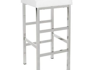 Set of 2   30  Chrome Backless Barstool White   OSP Home Furnishings