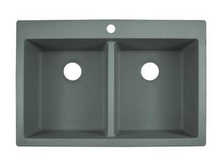 Franke 33 in  4 Hole Primo Dual Mount Composite Granite Double Bowl Kitchen Sink in Shadow Grey  Shadow Gray