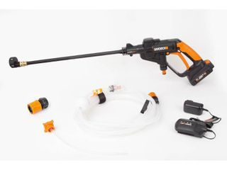 WORX WG625 20V Hydroshot Cordless Portable Power Cleaner  Black and Orange   powers on and battery charges