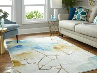 Mohawk Home Illusion Area Rug   Cream Blue 8  x 10