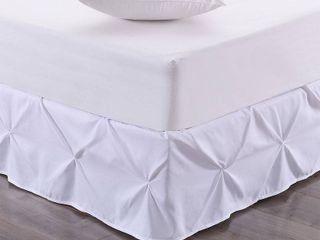 Hudson Pintuck Ruffled Queen Bedskirt Bedding