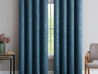 Gracewood Hollow Plakalo Embossed Thermal weaved Blackout Grommet Drapery Curtains   54  W x 84  l   Teal