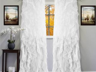 Sweet Home Collection Sheer Voile Vertical Ruffled Window Curtain Panel 50  X 84