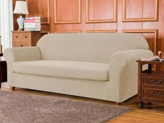 Subrtex Stretch loveseat Slipcover 2 Piece Spandex Furniture Protector   Camel