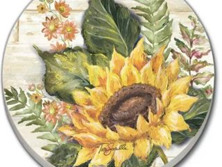 Counterart Absorbent Stoneware Car Coaster  Sunflowers  Set of 2   2 5