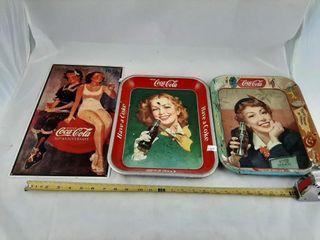 2 Coca Cola Trays And 1 Coca Cola Sign