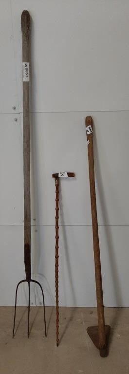 Antique Pitchfork  Hoe  And Walking Stick