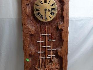 Plastic Faux Woodcut Clock 35  X 14