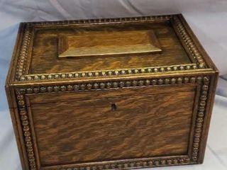 Antique Oak Document Box With Key
