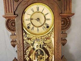 Antique Mantel Clock With Pendulum   Key Working