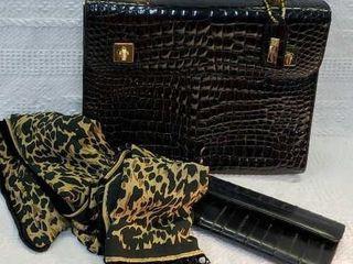 Isanti Italy Handbag Eel Skin Wallet   Fancy Scarf
