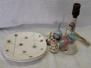 Retro Dinner Plates Pottery lamp Salt Pepper