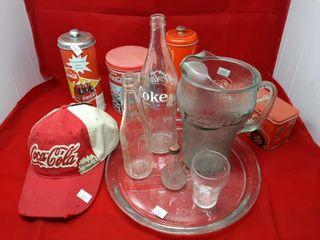 Coca cola Memorabilia With Glassware  Tins  And