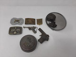 Belt Buckles  Harris Medal  Mirror  And Toy Gun