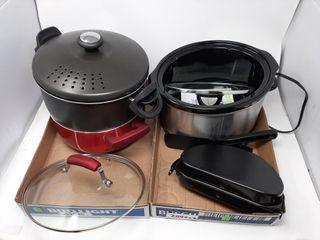Kitchen lot With Pots  Crock Pot  Etc