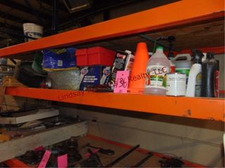 Group of misc items on pallet rack  oil cans