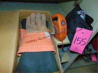 Pair of linemans rubber gloves  chalk line  bag w