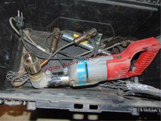 Husky tool box w  milwaukee 2 spd right angle dril