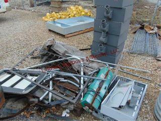 Group of misc scrap pcs  rebar  6 outdoor lights