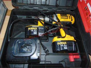 Dewalt 14 4V cordless drill w  2 batteries