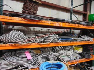 3 shelves of misc wire  in rolls   pcs