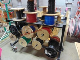Wire rack on whls w  approx 25 partial wire reels