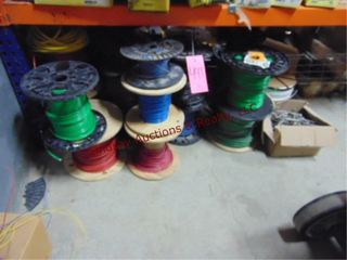 Group on floor of approx 24 partial wire spools