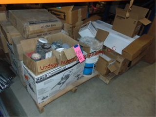 2 Pallets  Contents outlet boxes  lightbulbs