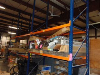 3 section of pallet racking w  shelves approx 9  x