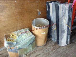 lot w  4 light fixtures used  barrel and box of