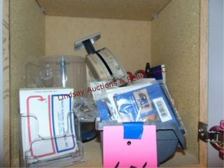 CONTENTS in overhead cabinets  Pens  Scale