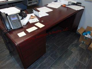 2 Desk w  Credenza  mahogony