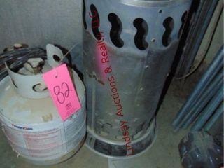 Propane heater w  partial propane tank   hose