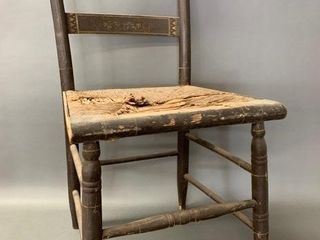 Mid 1800 s Rush Seat Chair Stenciled Decor
