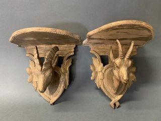 Pair of Early Ram Wooden Carved Wall Shelves