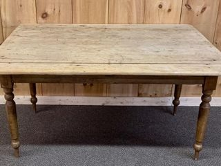 Primitive Harvest Table with Turned legs