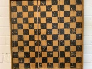 Early Wooden Games Board Checkers Chess
