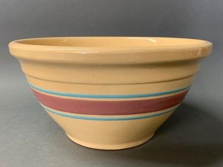 Primitive Yellow Ware Banded Mixing Bowl 10