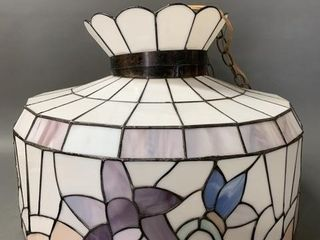 Vintage 3 Globe Stained Glass Tiffany Style lamp