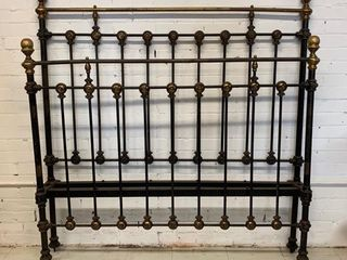 Antique Iron and Brass Tall Bed