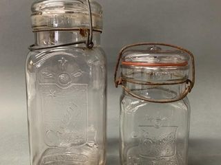 Pair of Queen Wire Top Preserve Jars with lids
