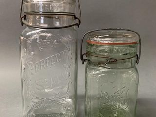Rare Green Pint Perfect Seal and Quart Clear