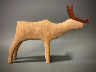 Inuit Wooden Carved Wooden Caribou Figure